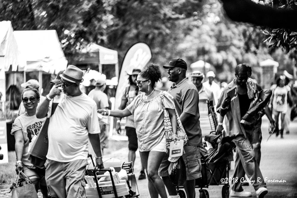 Patrons of the 2018 Richmond Jazz Festival making their way to claim their respective spots. Image by: cathy r. foreman